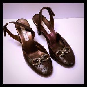 98799ca699a Olivia Rose Tal Dark Brown Leather Heels